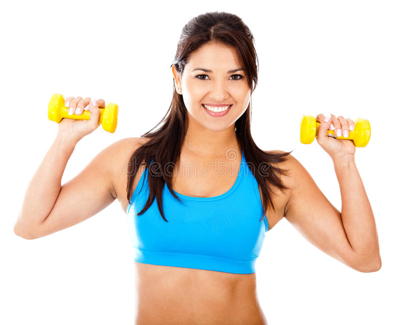 Athetic woman with weights