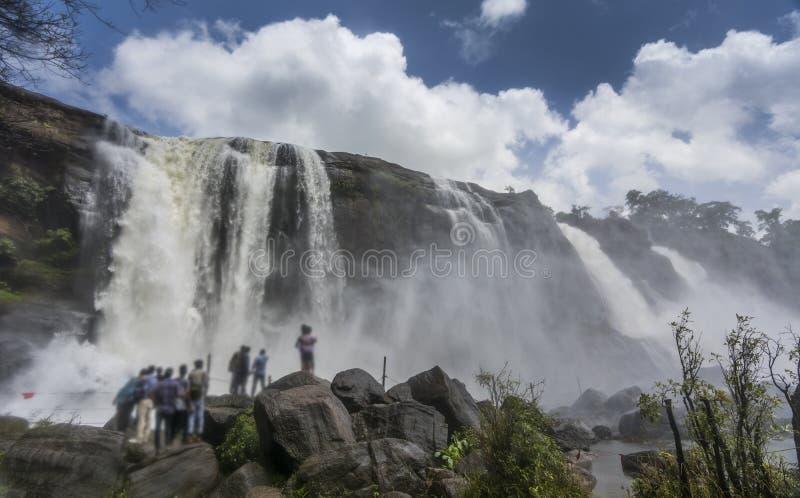 Athirappally瀑布在喀拉拉,印度 图库摄影
