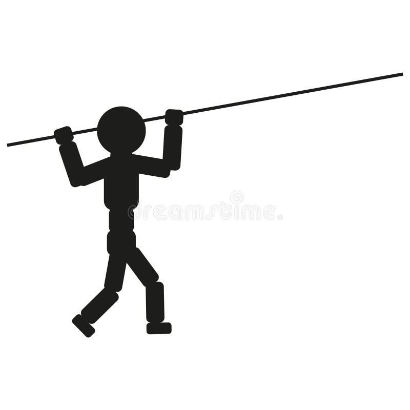 Athlète avec le poteau pour le signe d'illustration de saut Vecteur Icône noire sur le fond blanc illustration de vecteur