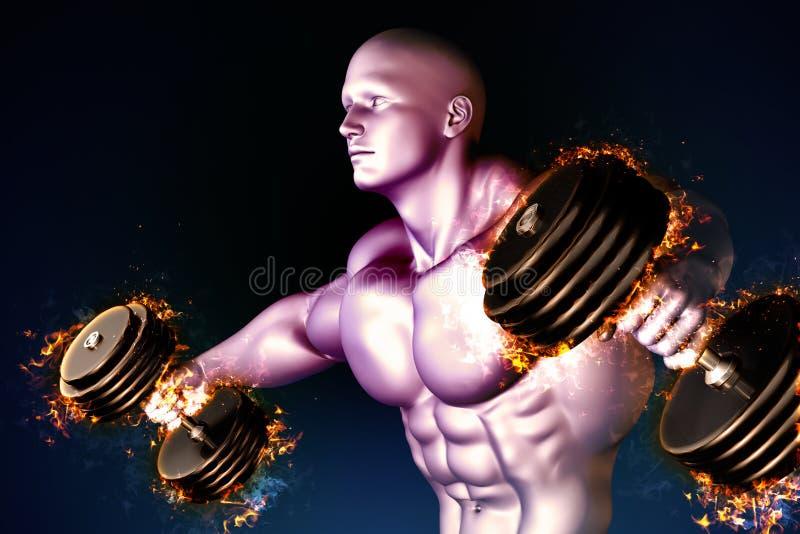 Athlète avec les haltères brûlantes illustration stock