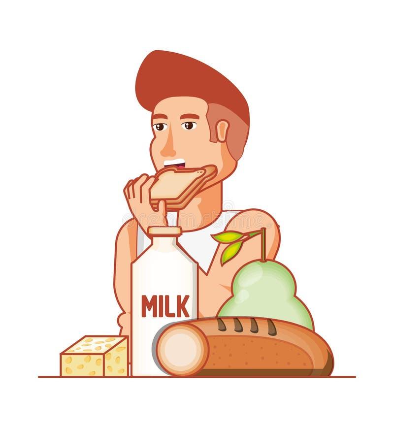 Athlète d'homme mangeant de la nourriture saine illustration libre de droits