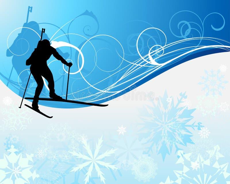 Athlète de Biathlon illustration de vecteur