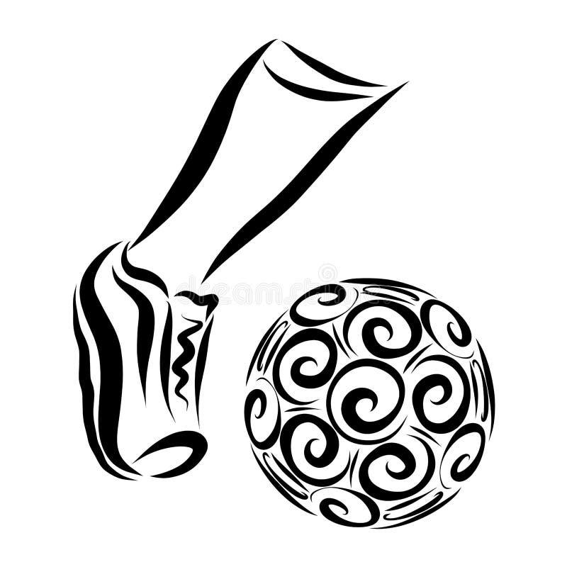Athlète de pied donnant un coup de pied la boule, esquissant dans les lignes noires illustration stock