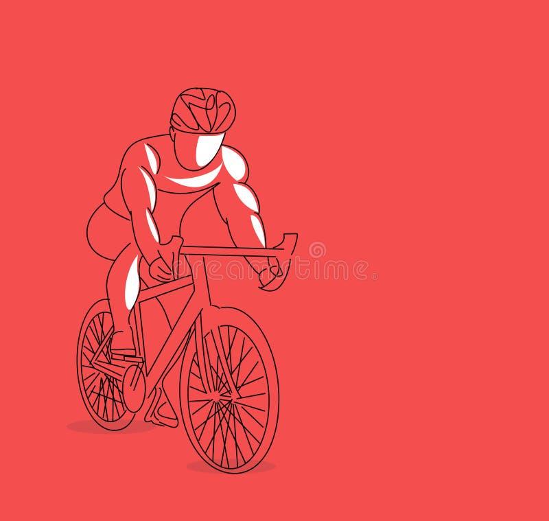 Athlète de recyclage moderne In Action Line Art Drawing illustration libre de droits