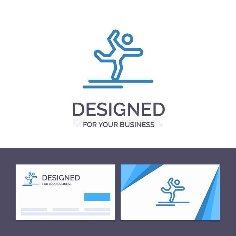 Athlète de visite de calibre créatif de carte de visite professionnelle et de logo, gymnastique, exécution, étirant l'illustratio illustration de vecteur