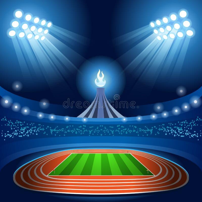 Athlète féminin de gymnastique rythmique de jeux d'été de fond de stade avec le gymnaste d'équipement de ruban sur le fond de cha illustration stock