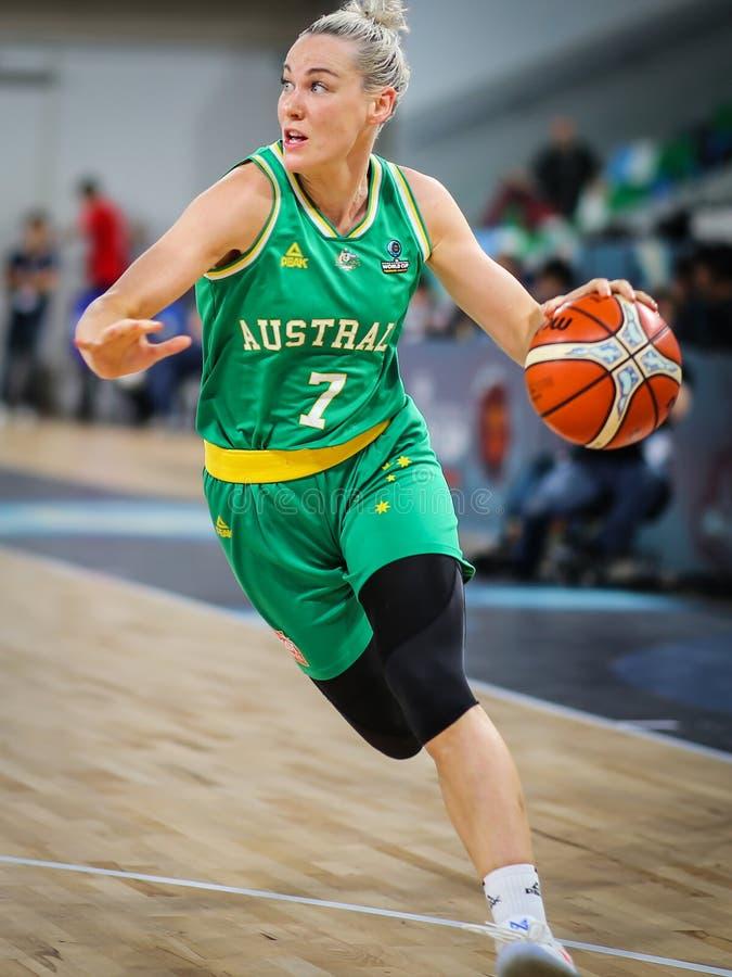 Athlète féminin de l'Australie, Tess Madgen, dans une action rapide photographie stock libre de droits