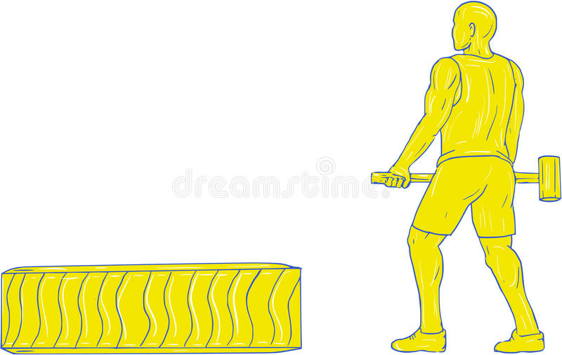 Athlète Hammer Workout Drawing de forme physique illustration de vecteur