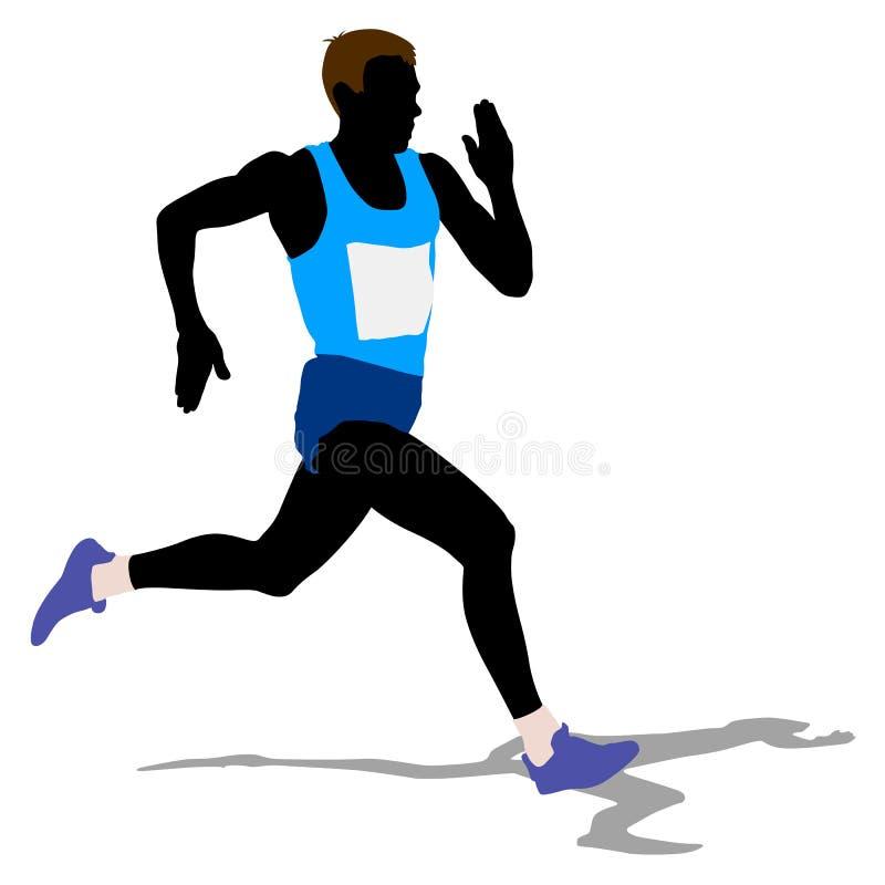 Athlète sur la course courante, silhouettes Vecteur illustration stock