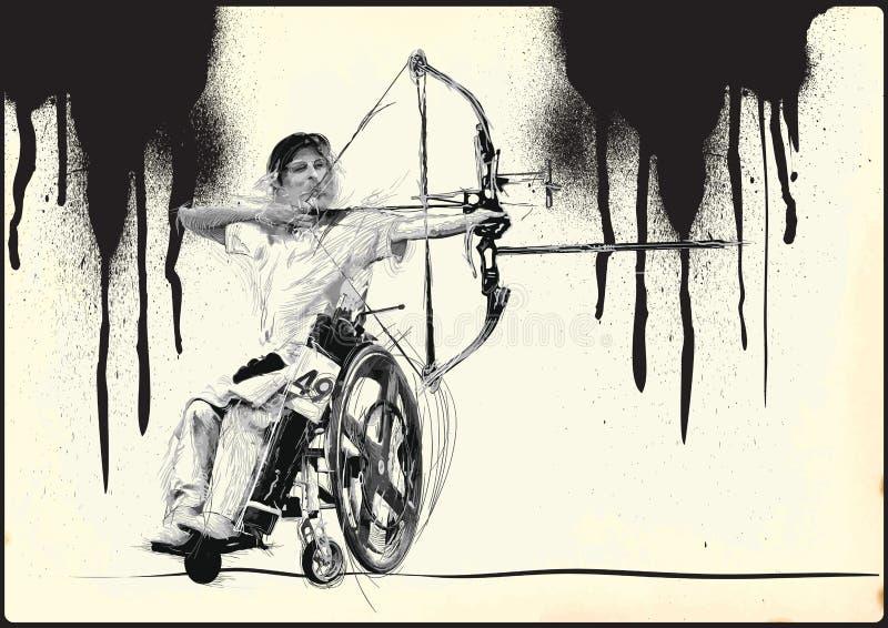 Athlètes avec des incapacités physiques - tir à l'arc illustration stock