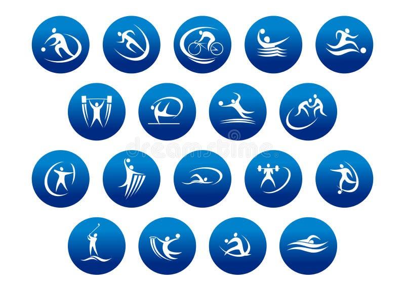 Athlétisme et icônes ou symboles de sport collectif illustration libre de droits