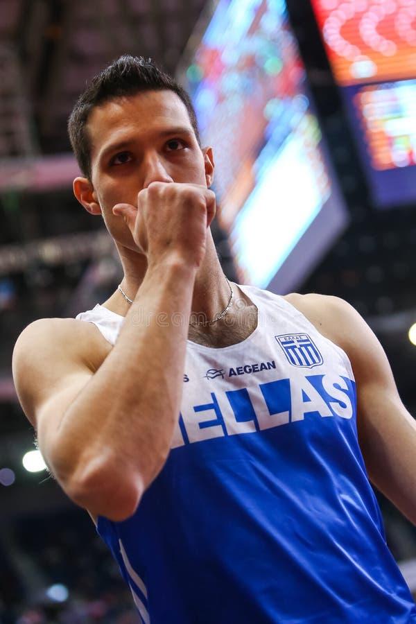 Athlétisme - homme de chambre forte de Polonais, FILIPPIDIS Konstadinos image stock