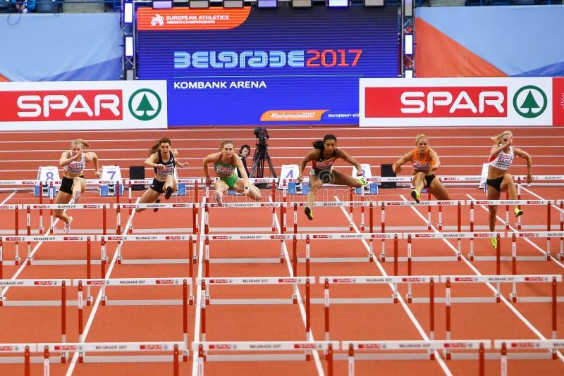 Athlétisme - obstacles des femmes 60m de pentathlon - NAFISSATOU THIAM photos stock