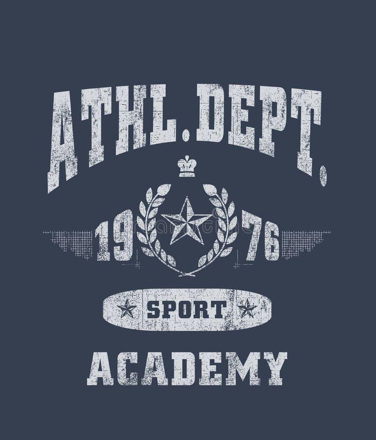 ?athl dept. 'typografi, sportsliga utslagsplatsskjortadiagram stock illustrationer