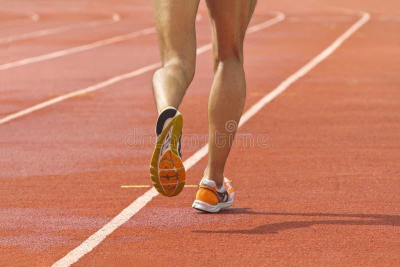 Athlet gelaufen in Leichtathletikstadion stockbilder