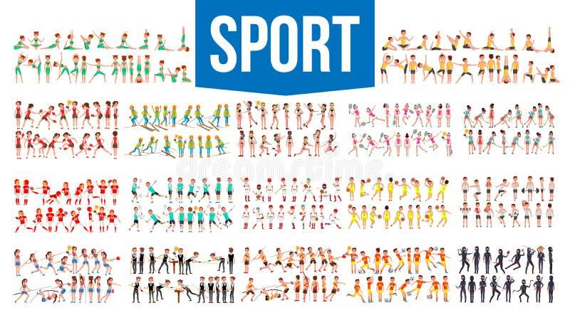 Athlet Set Vector Mann, Frau Gruppe Sport-Leute in der Uniform, Kleid Charakter in der Spiel-Aktion Flache Karikatur lizenzfreie abbildung