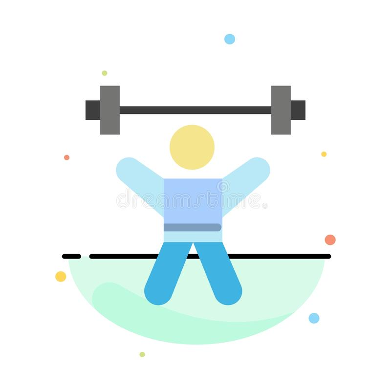 Athlete, Athletics, Avatar, Fitness, Gym Abstract Flat Color Icon Template royalty free illustration