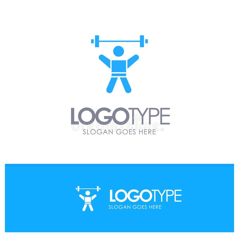 Athlete, Athletics, Avatar, Fitness, Gym Blue Solid Logo with place for tagline vector illustration