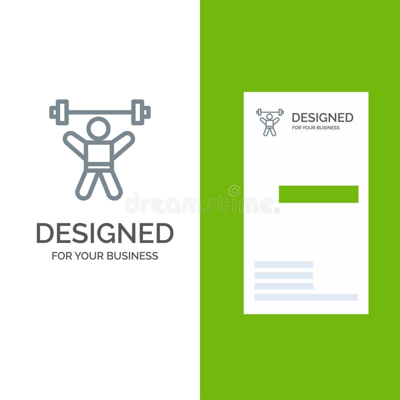 Athlete, Athletics, Avatar, Fitness, Gym Grey Logo Design and Business Card Template stock illustration