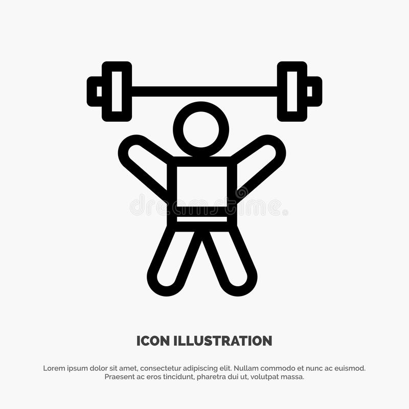 Athlete, Athletics, Avatar, Fitness, Gym Line Icon Vector stock illustration