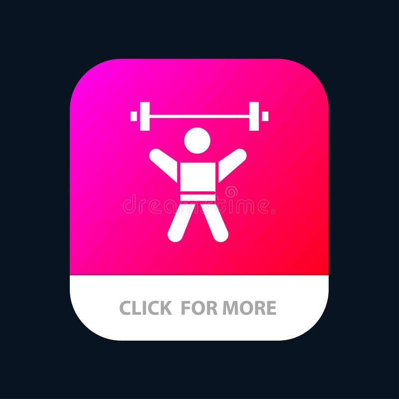 Athlete, Athletics, Avatar, Fitness, Gym Mobile App Button. Android and IOS Glyph Version royalty free illustration