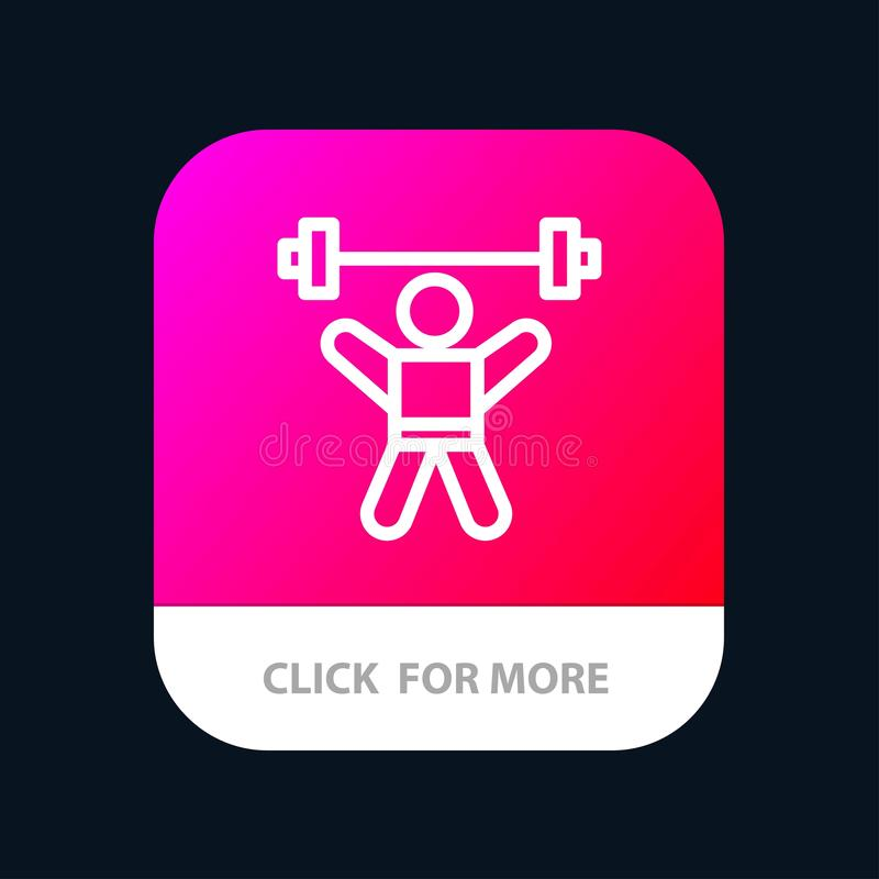 Athlete, Athletics, Avatar, Fitness, Gym Mobile App Button. Android and IOS Line Version stock illustration