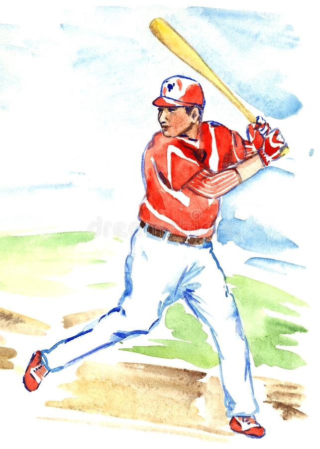 Athlete baseball player batter or hitter is awaiting to hit ball with bat. Baseball player with bat in red and white sportswear, hand painted watercolor sport vector illustration
