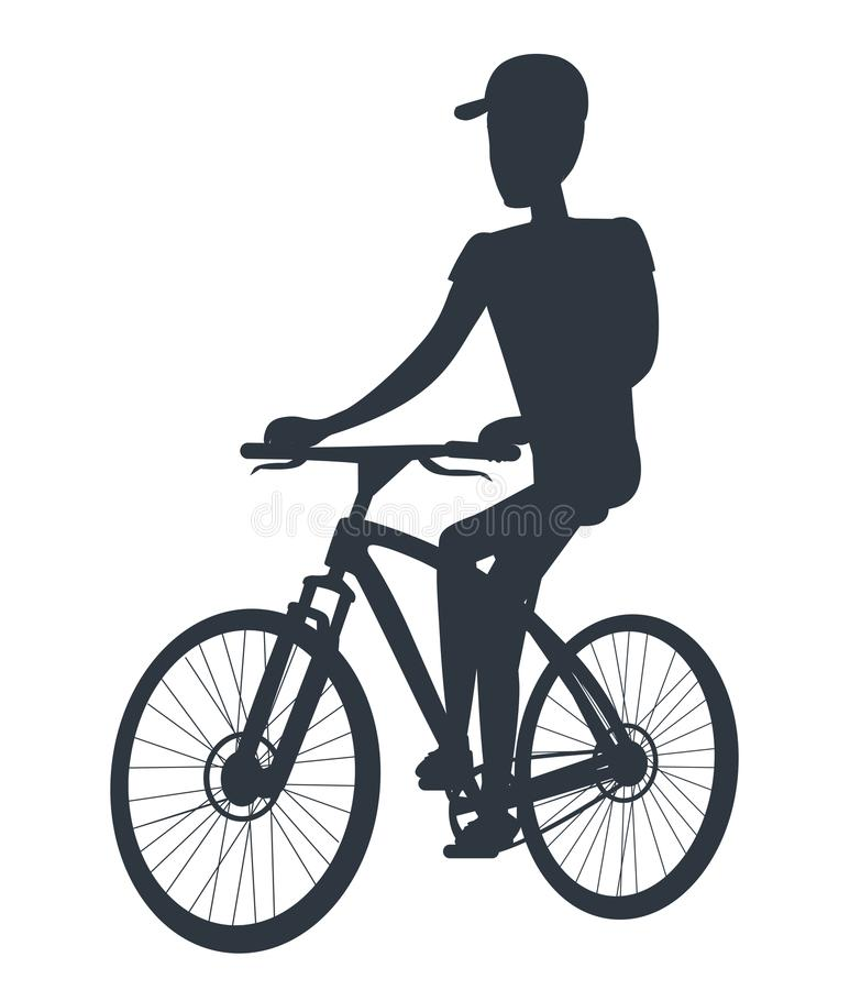 Athlete on Bicycle Black Silhouette Isolated White vector illustration