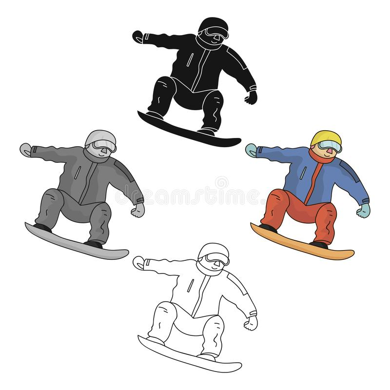 The athlete with the blue jacket and red pants on a snowboard.Snowboarder at the Olympics.Olympic sports single icon in. Cartoon,black style vector symbol stock royalty free illustration