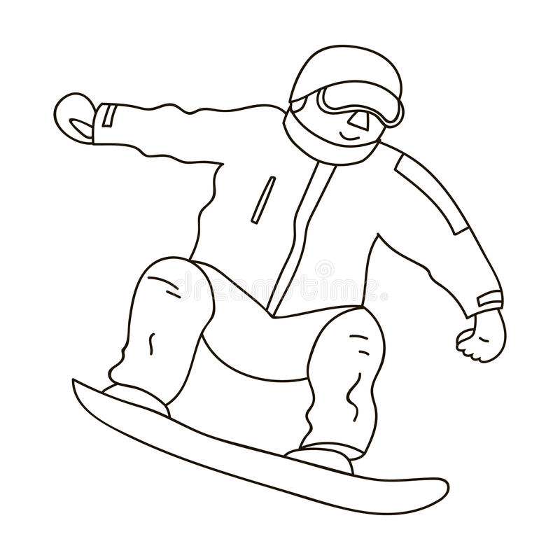 The athlete with the blue jacket and red pants on a snowboard.Snowboarder at the Olympics.Olympic sports single icon in. Outline style vector symbol stock web stock illustration