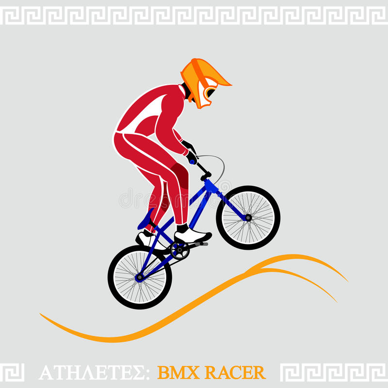 Athlete BMX racer. Greek art stylized BMX racer jumping on tracks stock illustration