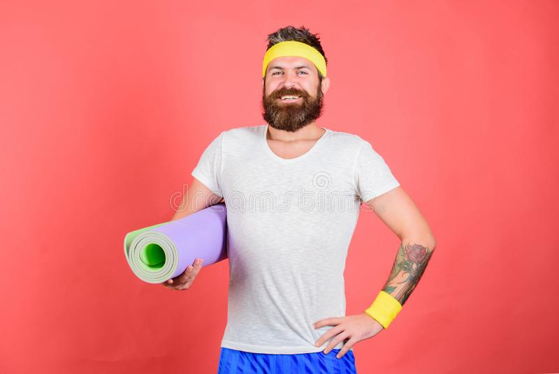 Athlete coach ready for training. Old school aerobics concept. I will teach you stretch. Stretching and pilates concept royalty free stock photos