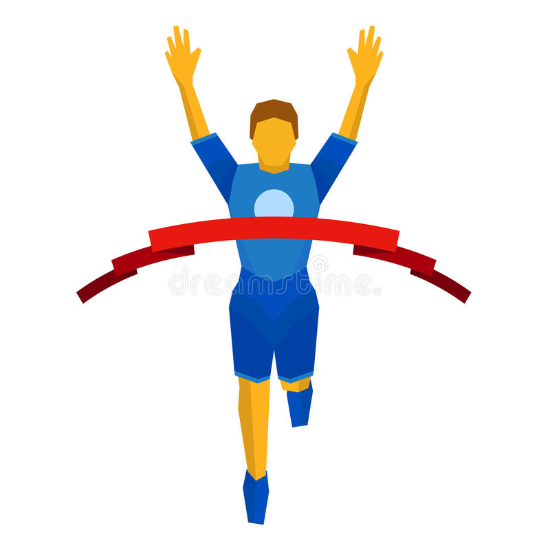 Athlete crosses finish line red ribbon. Front view. royalty free illustration