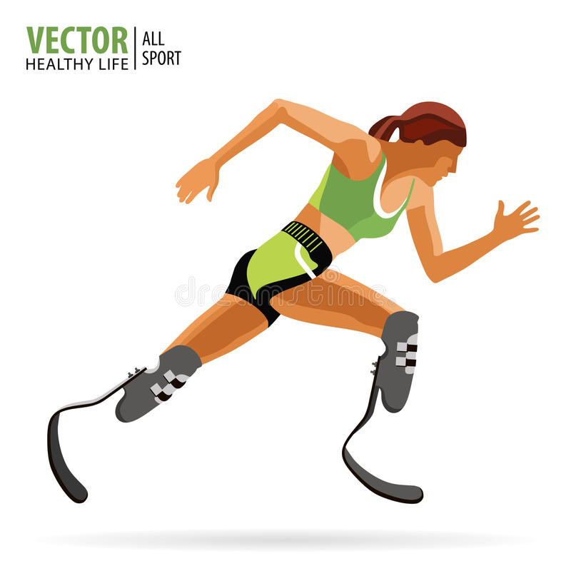 Athlete with a disability. Paralympic. Running. Athletic woman. The prosthetic leg.Championship. Athletics. Vector. Athlete with a disability. Paralympic stock illustration