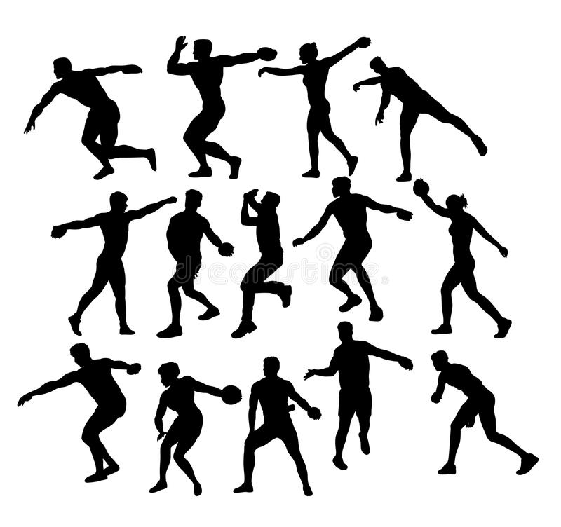 Athlete Discus Thrower Activity Sport Silhouettes vector illustration