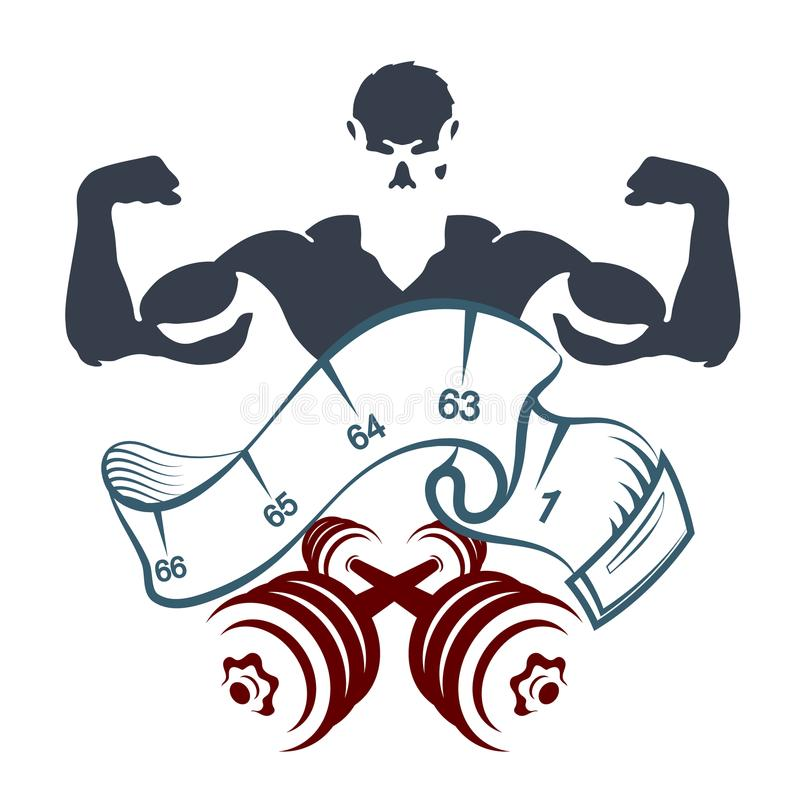 Athlete with dumbbells and meter. For weight control stock illustration