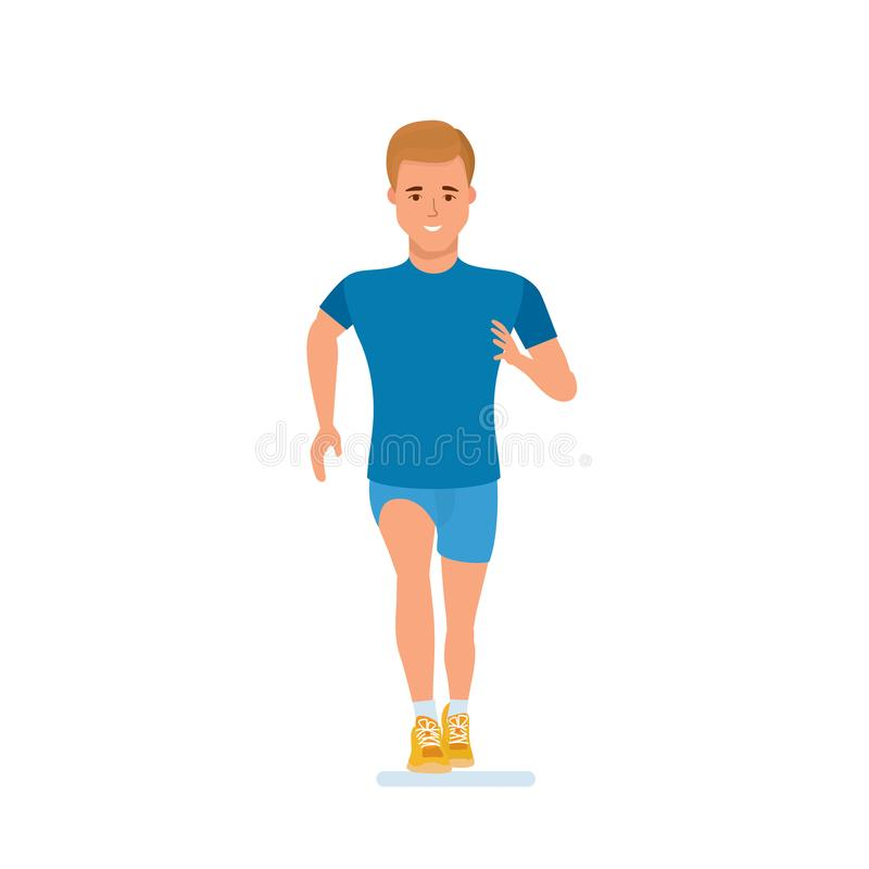 Athlete engaged in athletics, running, doing special physical exercises, warm-up. royalty free illustration