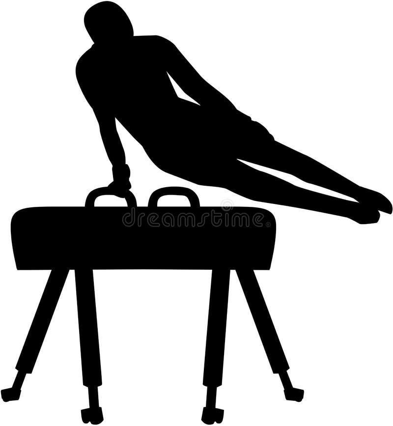 Athlete exercise at pommel horse royalty free illustration