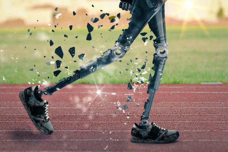 Athlete führt einen Marathon mit Prothesen - 3D-Illustration lizenzfreies stockfoto