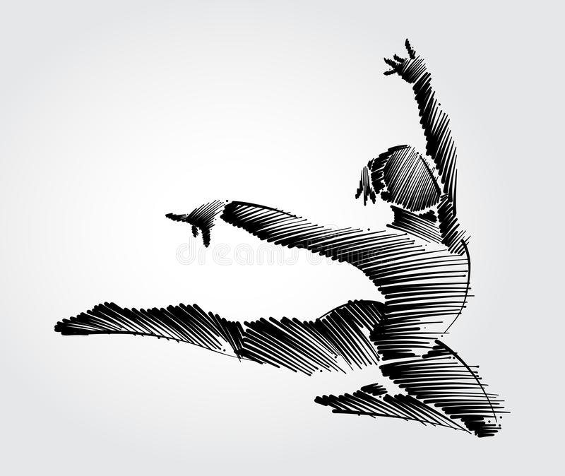 Athlete female gymnast jumping forward in graceful motion. Drawing with black brush strokes in sketch-shape on light background royalty free illustration