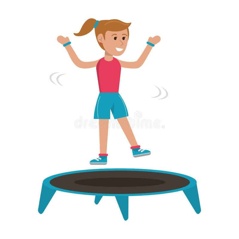 Athlete jumping in trampoline. Athlete girl jumping in trampoline cartoon vector illustration graphic design vector illustration