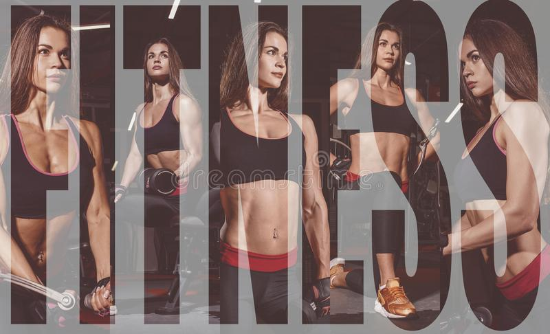 Athlete girl in sportswear working out and training her arms and shoulders with exercise machine in gym. Collage of photo. stock photography