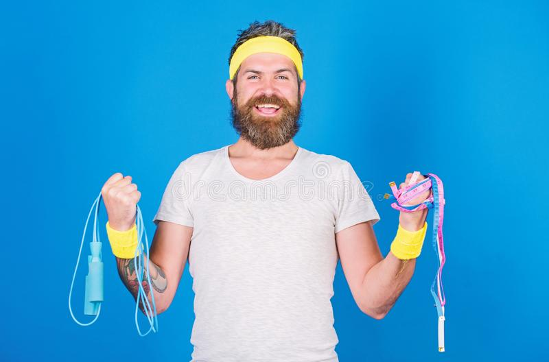 Athlete guide stay in shape. Old school aerobics concept. Athlete professional coach motivated for training. Athlete. Wear bandages for sweat. Man bearded stock image