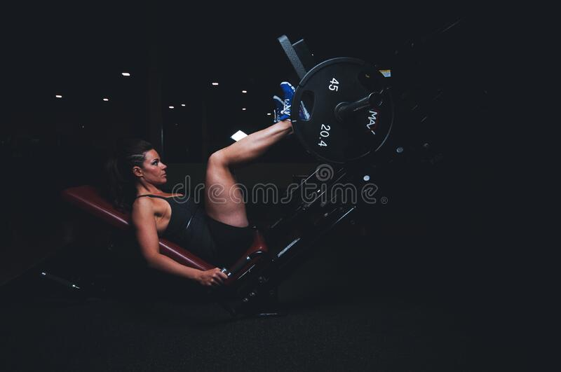Athlete in gym stock images