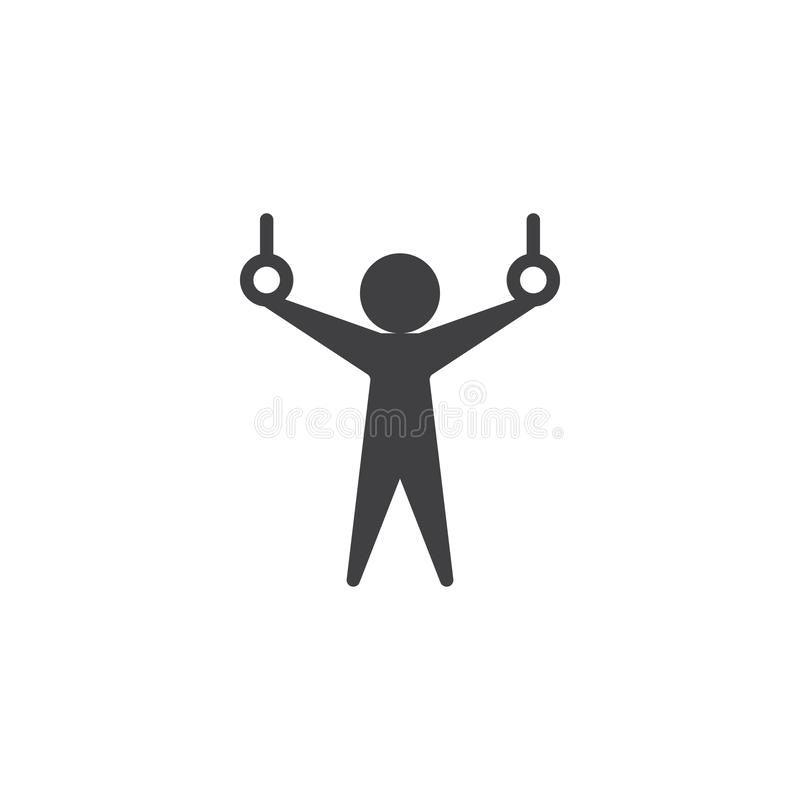 Athlete and gymnastic rings vector icon. Filled flat sign for mobile concept and web design. Gymnastics rings sport glyph icon. Symbol, logo illustration royalty free illustration
