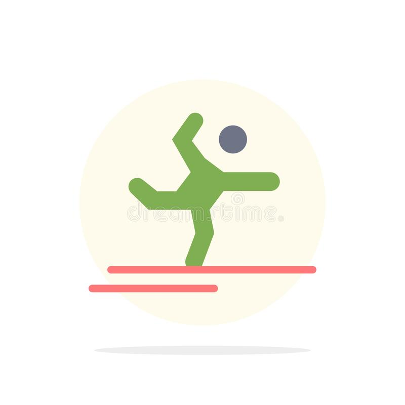 Athlete, Gymnastics, Performing, Stretching Abstract Circle Background Flat color Icon stock illustration