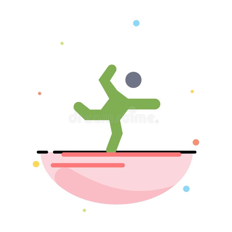 Athlete, Gymnastics, Performing, Stretching Abstract Flat Color Icon Template stock illustration