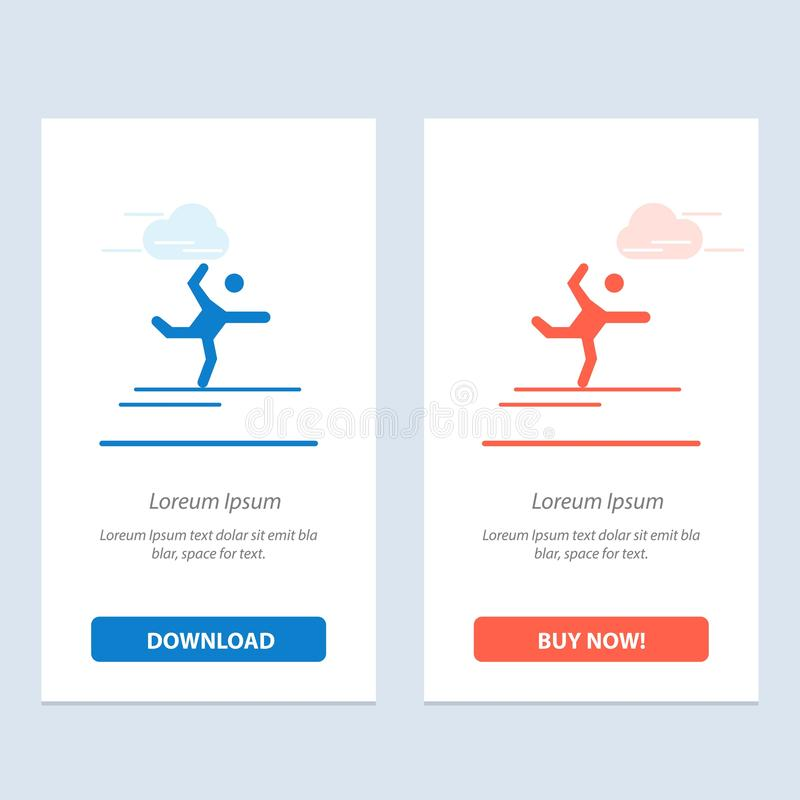 Athlete, Gymnastics, Performing, Stretching  Blue and Red Download and Buy Now web Widget Card Template vector illustration