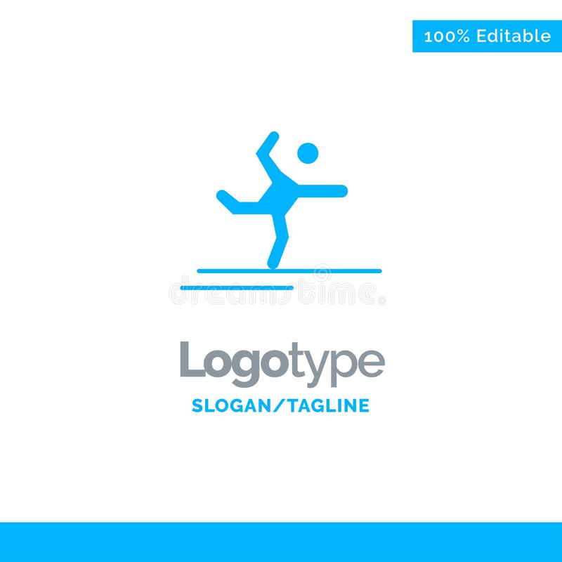 Athlete, Gymnastics, Performing, Stretching Blue Solid Logo Template. Place for Tagline stock illustration