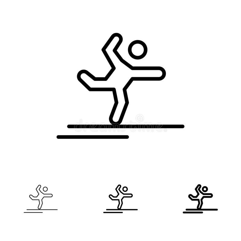 Athlete, Gymnastics, Performing, Stretching Bold and thin black line icon set stock illustration